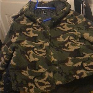 Forever 21 camo faux shearling coat